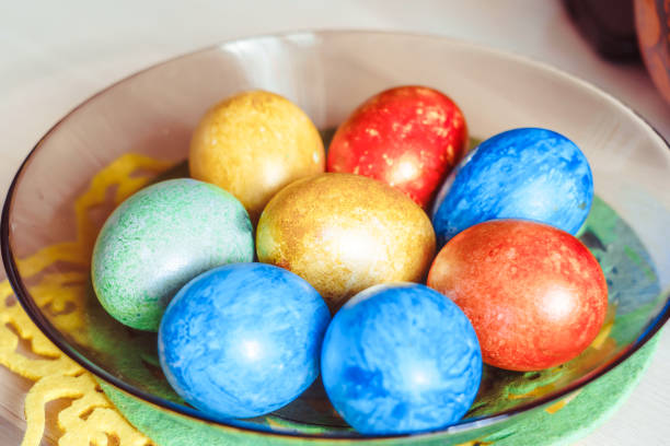Easter eggs in a plate stock photo