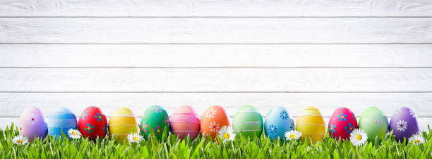easter eggs in a row and white wooden background - easter imagens e fotografias de stock