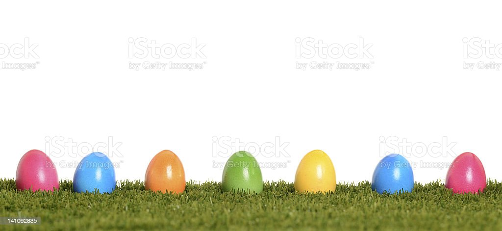 Easter eggs in a row royalty-free stock photo