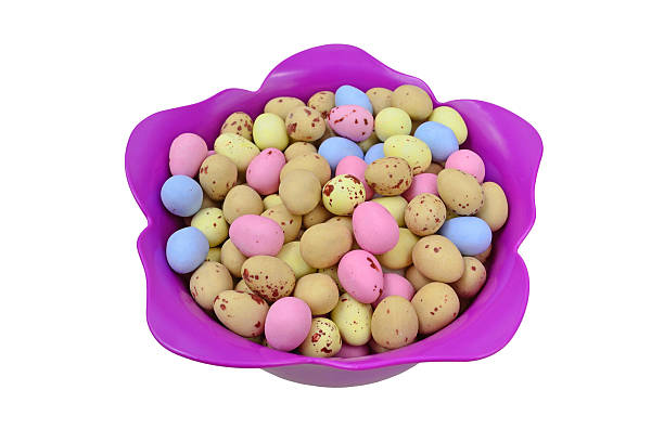 Easter Eggs in a Tulip Shaped Bowl stock photo