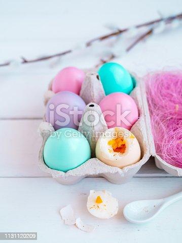 Speise, Ostern, Ei, Feiertag, Löffel, Holztisch, weiß, Nahaufnahme, Textfreiraum