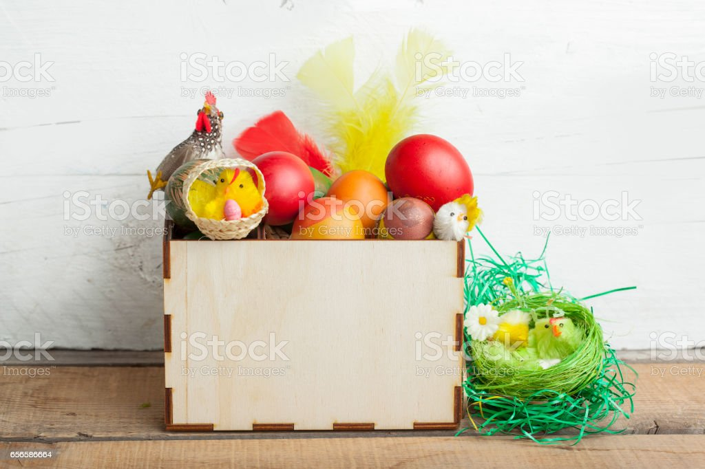 Easter Eggs In Basket And Natural Wooden Country Table Copyspace Royalty Free Stock Photo
