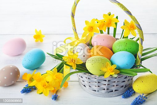 922843504 istock photo Easter eggs in basket and spring flowers on white wooden table. 1205569955