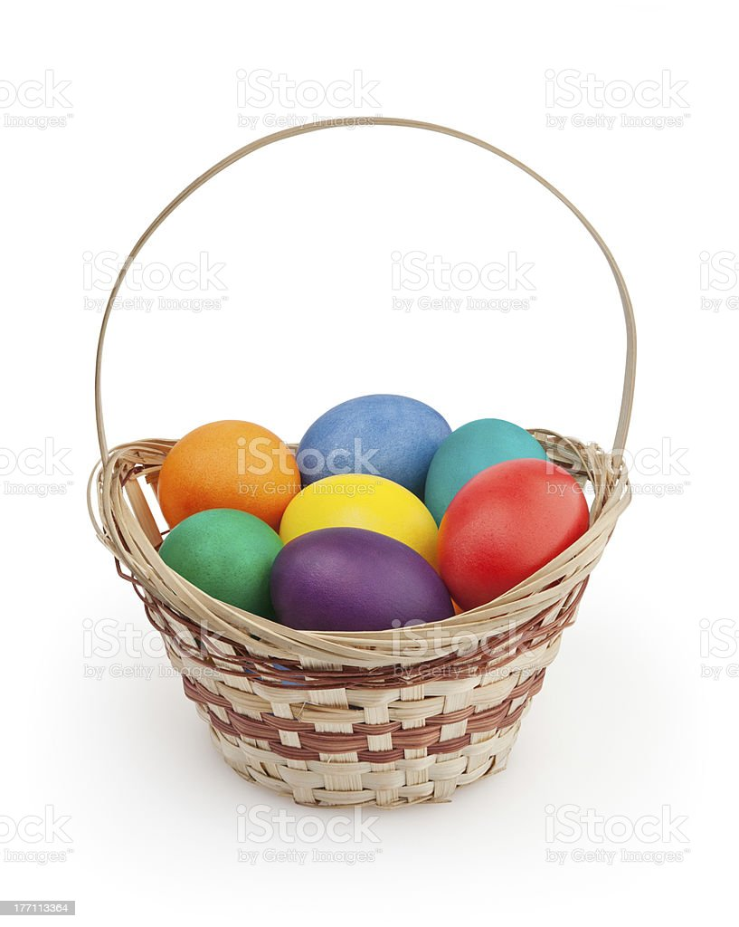 Easter eggs in basket + clipping path stock photo
