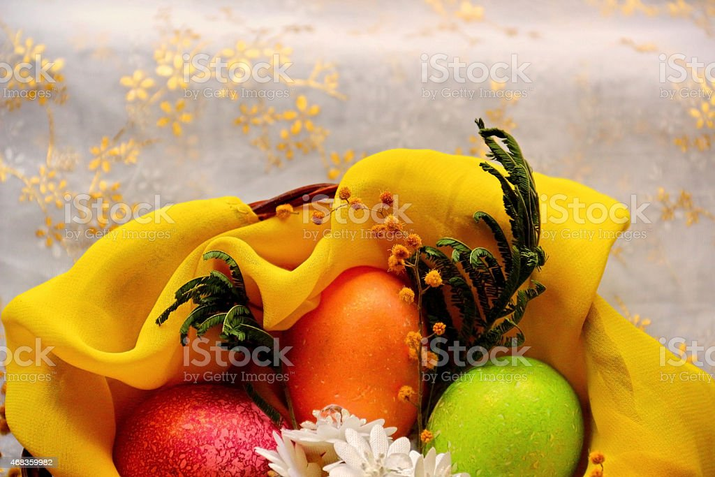 Easter eggs in basket, painted in different colors royalty-free stock photo