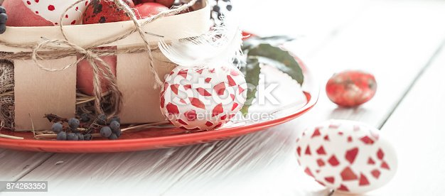 istock Easter eggs in basket 874263350