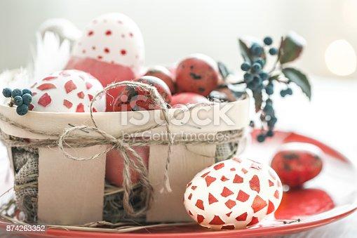 istock Easter eggs in basket 874263352