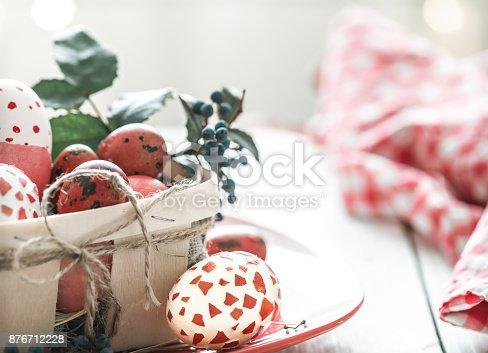 istock Easter eggs in basket 876712228