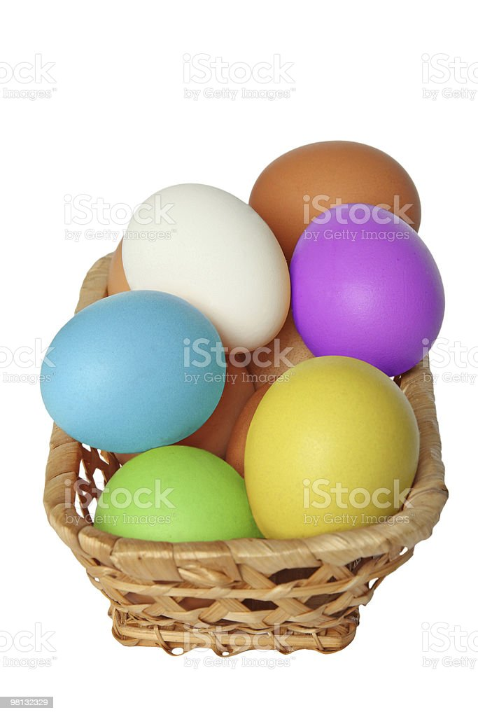 Easter eggs in basket. royalty-free stock photo
