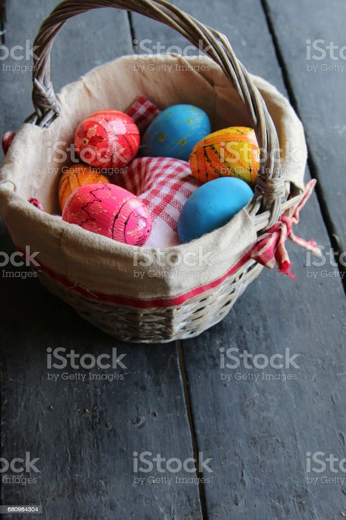 Easter eggs in basket. Traditional decoration royalty-free stock photo