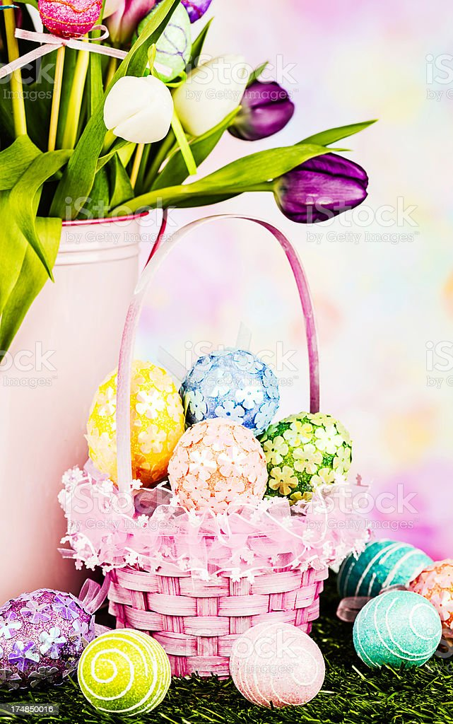 Easter Eggs in Basket with Bouquet royalty-free stock photo