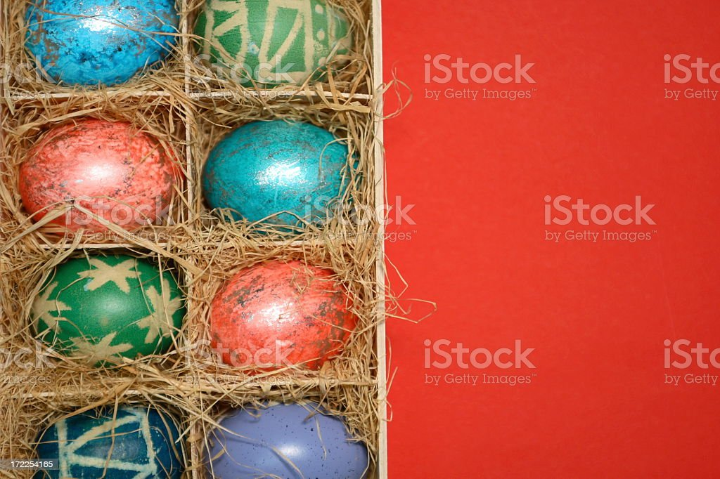 Easter Eggs in Box with Hay 2 royalty-free stock photo
