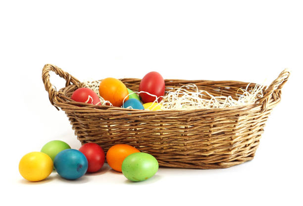 easter eggs in easter basket stock photo