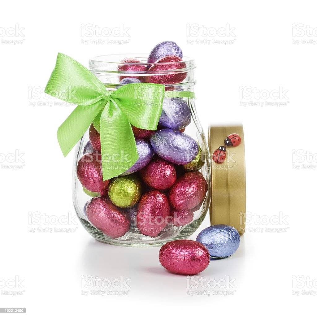 Easter eggs in glass jar royalty-free stock photo
