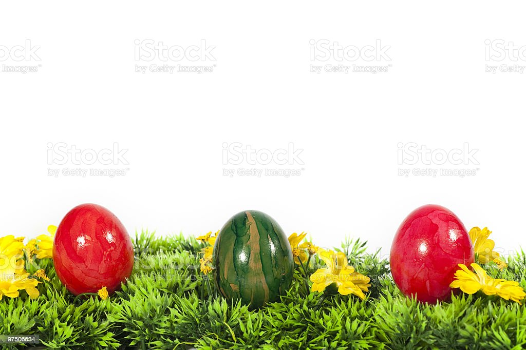 Easter Eggs in gras royalty-free stock photo