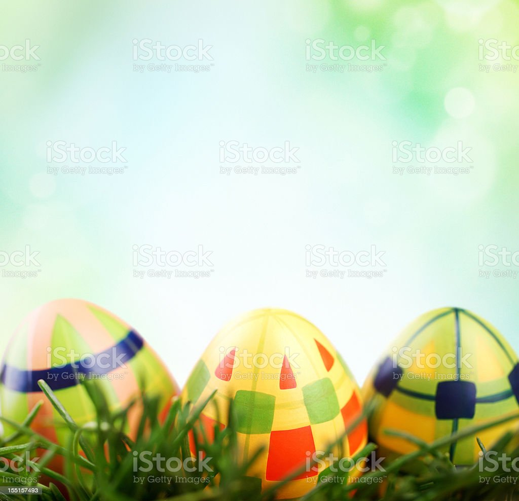 Easter eggs in grass. royalty-free stock photo