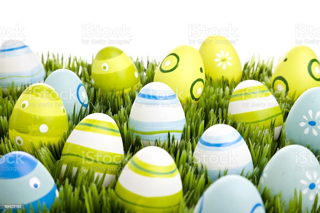 easter eggs in grass royalty-free stock photo