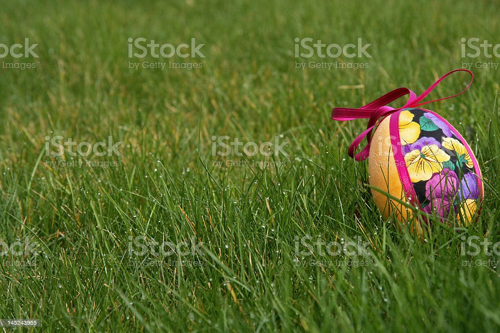 Easter eggs in meadow royalty-free stock photo