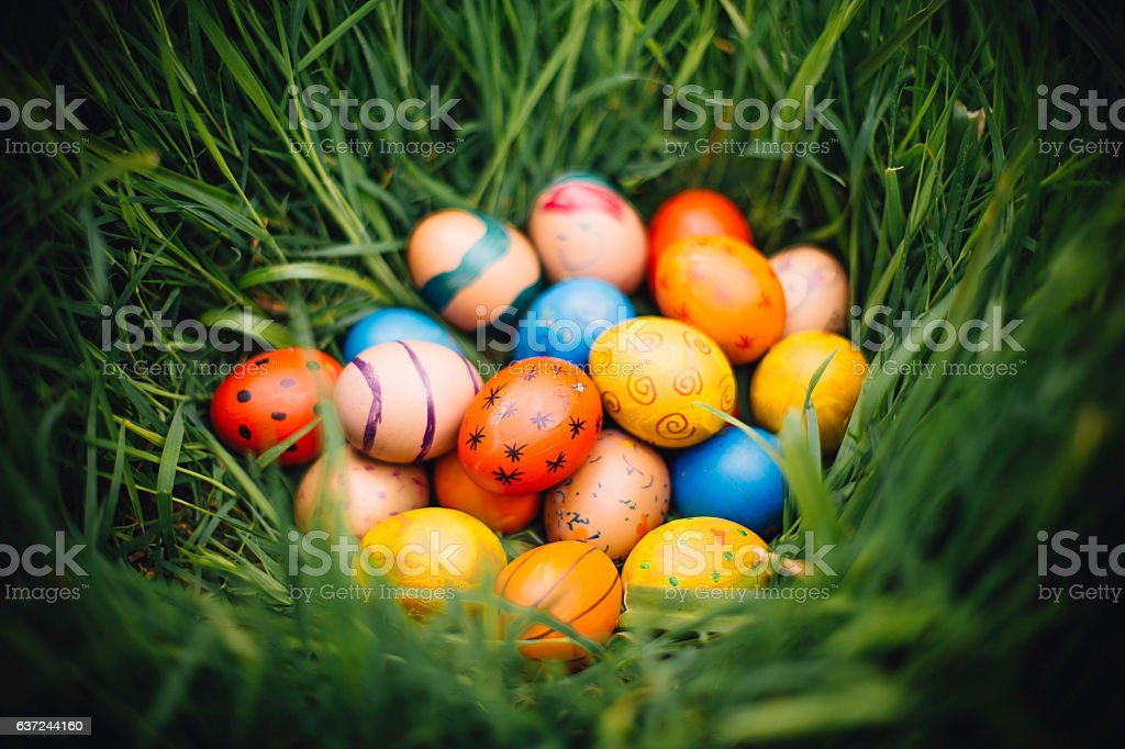 Easter Eggs in Nature stock photo