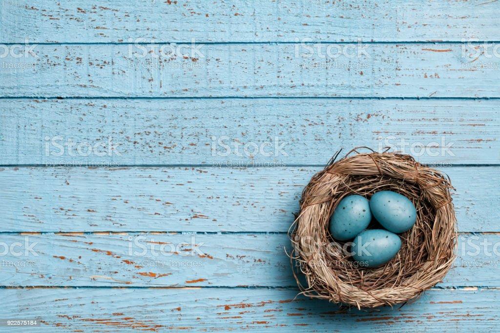 Easter eggs in nest on blue old planks  - Backgrounds Spring Season Wood