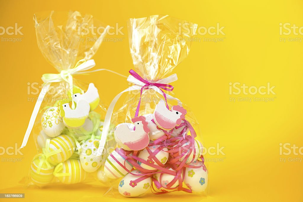 Easter eggs in plastic bags royalty-free stock photo