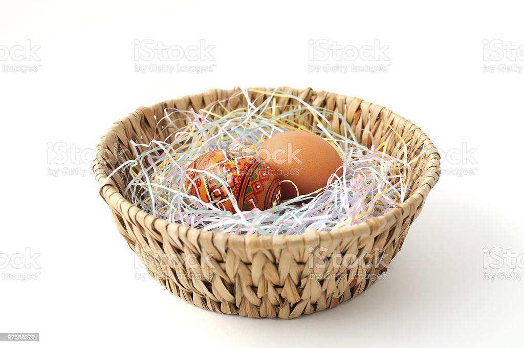 Easter eggs in the basket royalty-free stock photo