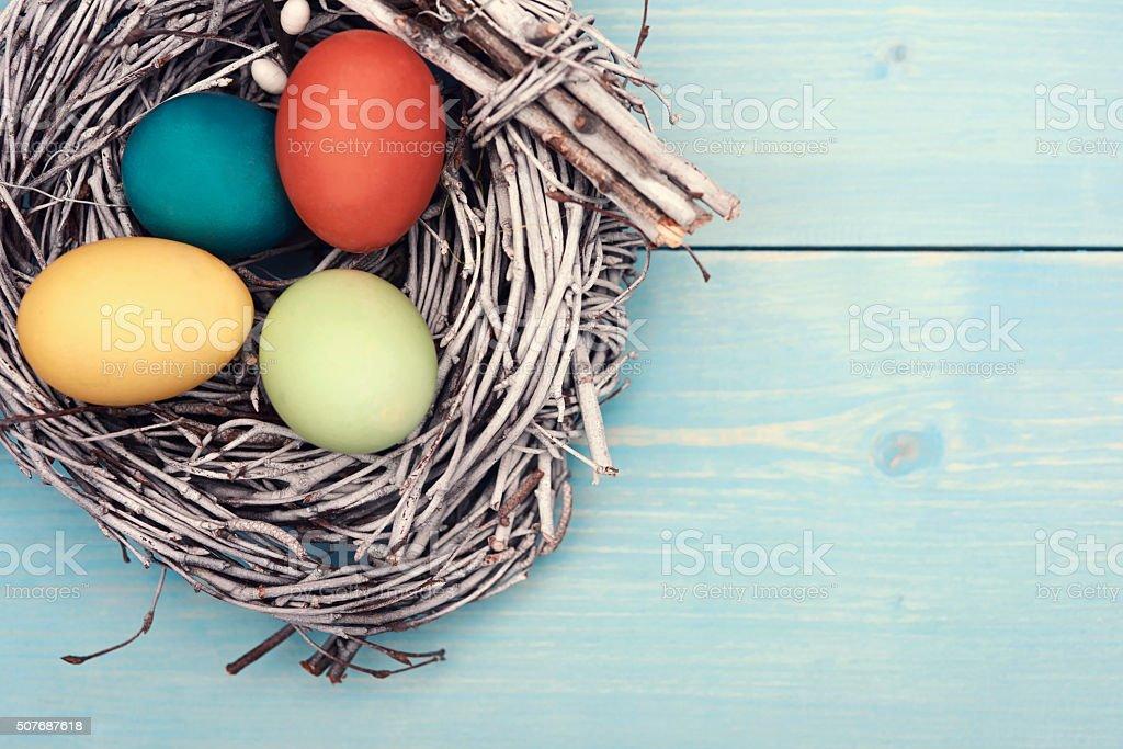 Easter eggs in the nest stock photo