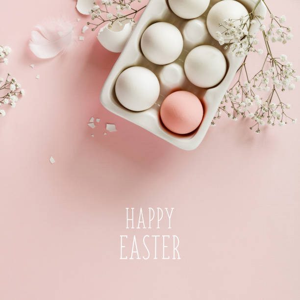 Easter eggs in white ceramic holder and flowers on pink background stock photo