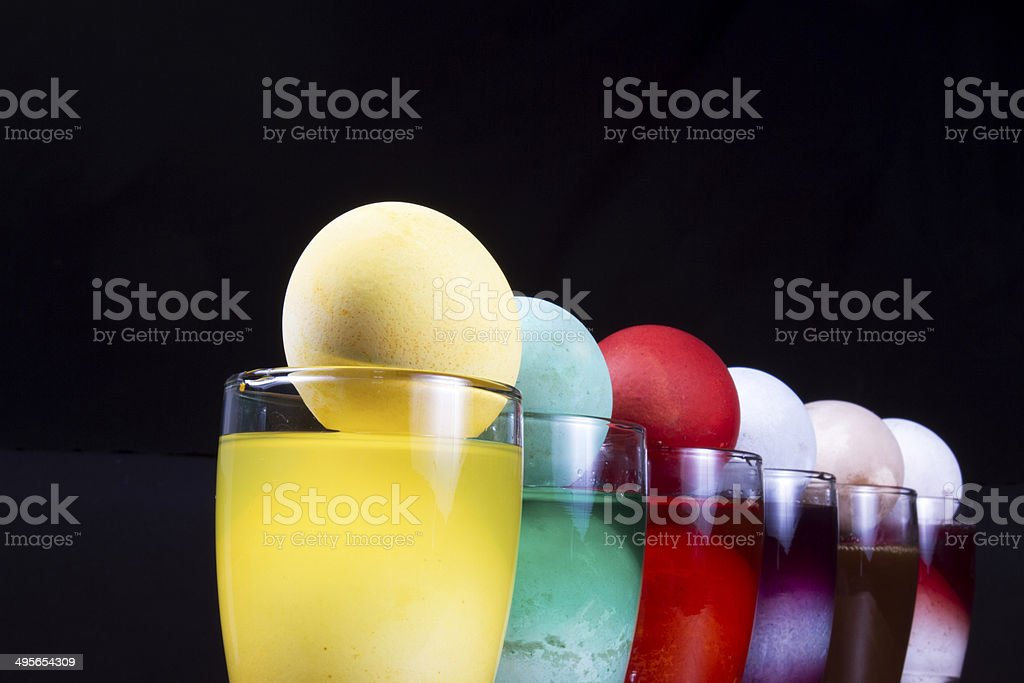 Easter Eggs in White Spoon stock photo
