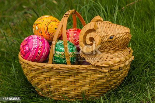 925481382 istock photo Easter Eggs in Wicker Basket in the shape of lamp 473483586