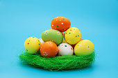 Easter eggs isolated on blue background
