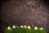 Easter eggs lined up in a row