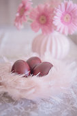 Easter Eggs Naturally Dyed with Onion Skins in Pink Nest