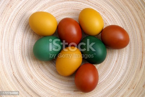 istock Easter eggs on a wood plate 172734695