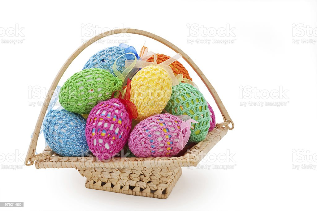 Easter Eggs on basket royalty-free stock photo