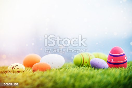 Easter Eggs on Green Fresh Grass