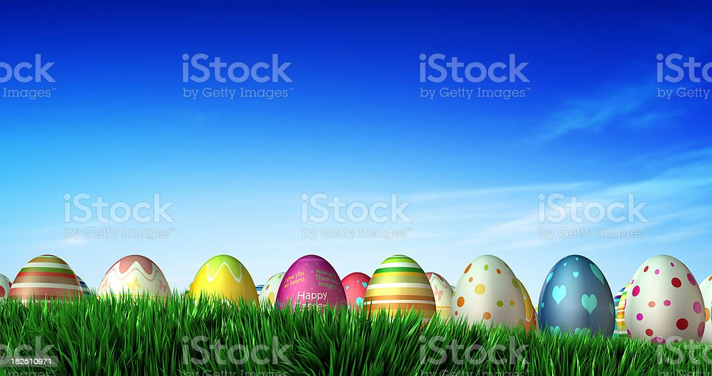 Easter Eggs on grass field royalty-free stock photo
