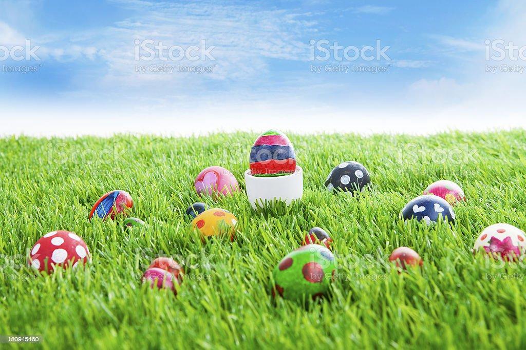 Easter eggs on grass horizontal royalty-free stock photo