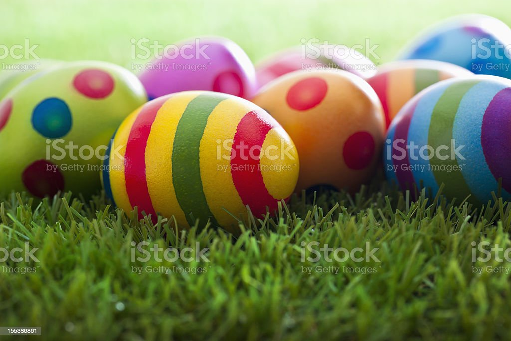 Easter Eggs on Grass royalty-free stock photo