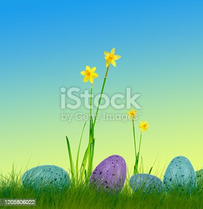 639245704 istock photo easter eggs on grass with daffodils and colorful background 1205806022