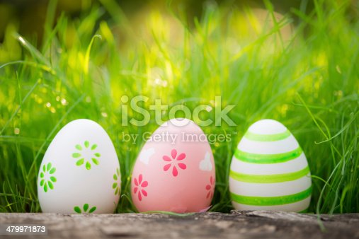 istock Easter eggs on green grass 479971873