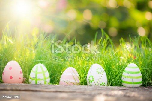 istock Easter eggs on green grass 479971879