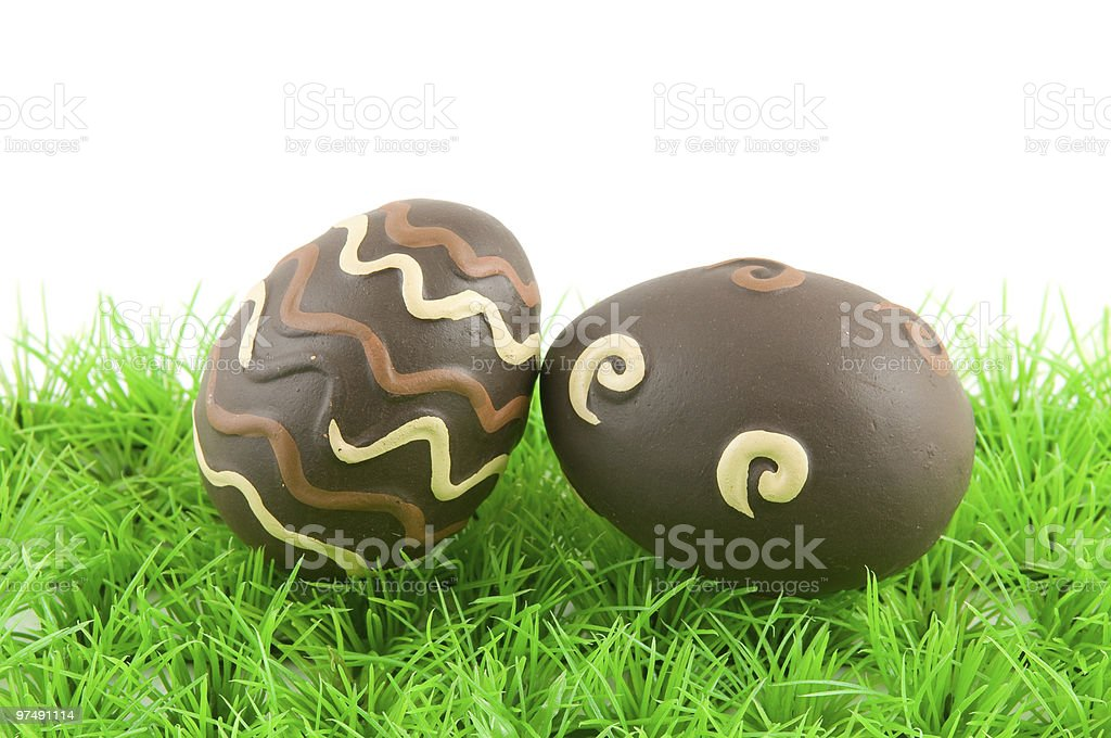 Easter eggs on green grass royalty-free stock photo
