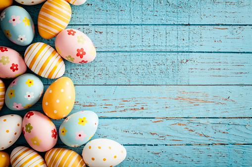 Easter Eggs on Old Blue Wood - Season Background Frame