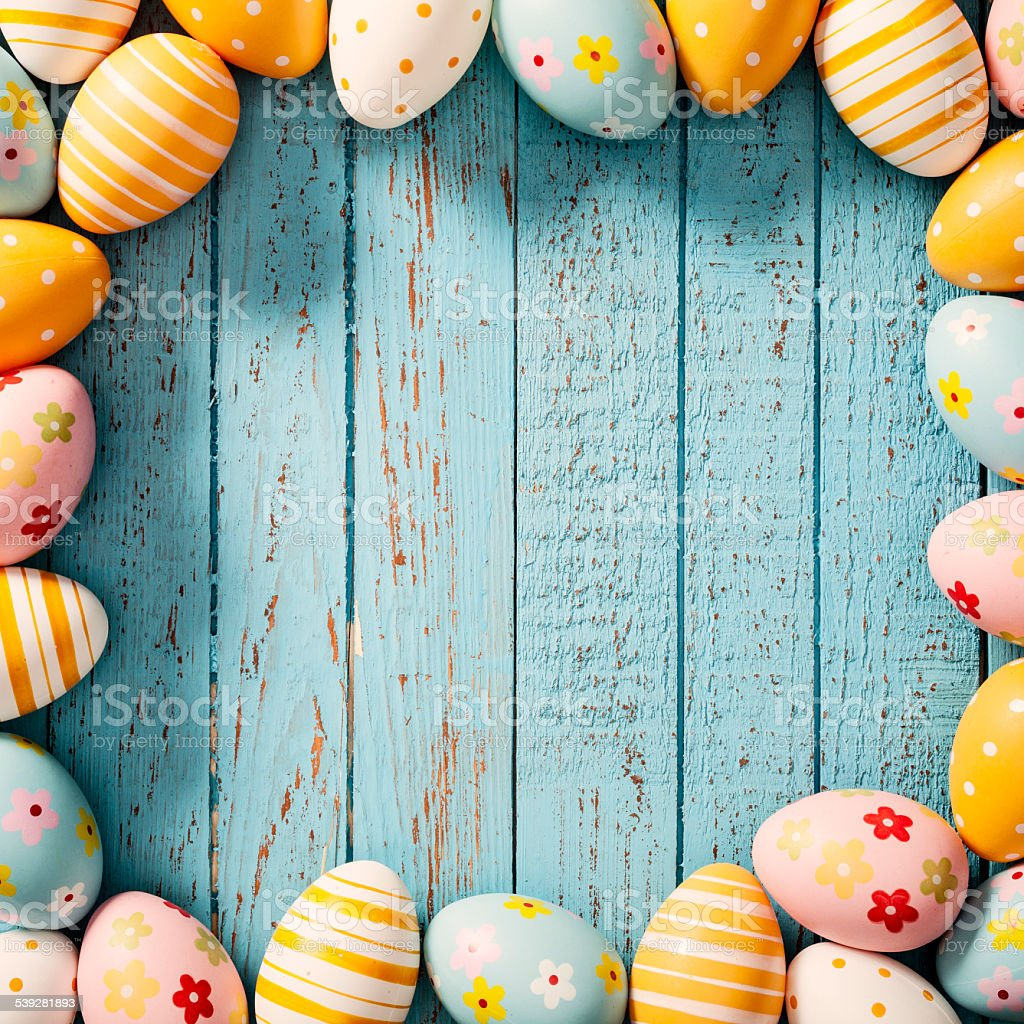 Easter Eggs On Old Blue Wood Season Background Frame Stock
