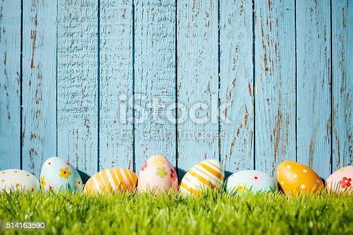 Easter Eggs On Old Blue Wood Season Background Stock Photo