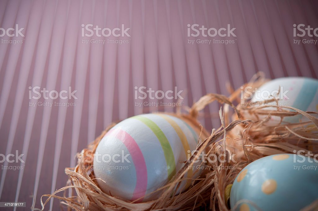 Easter Eggs on Purple Background stock photo