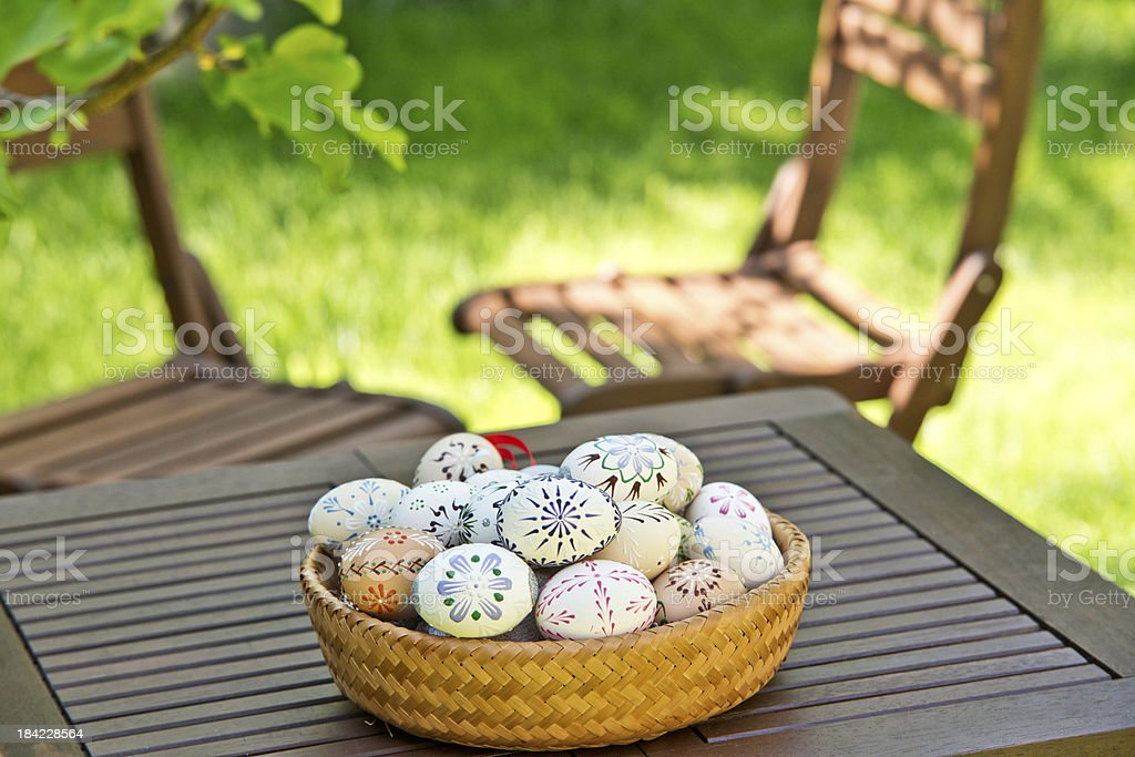 Easter eggs on the table royalty-free stock photo