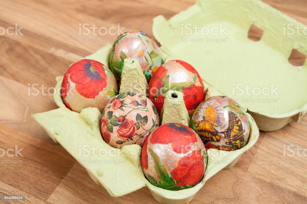 Easter eggs on the table. stock photo