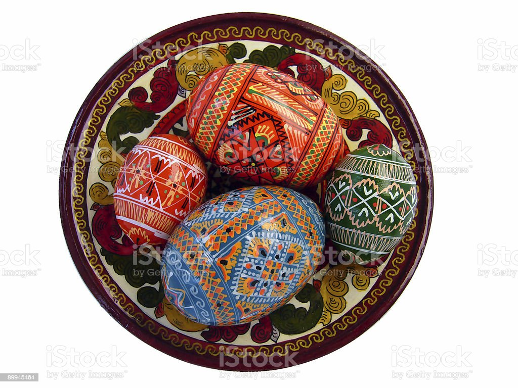 Easter eggs on the tradional Russian plate royalty-free stock photo